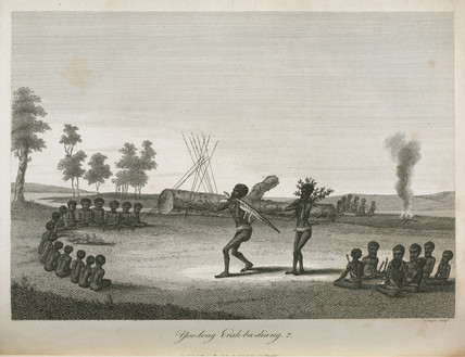 Aboriginal men and boys taking part in an intitiation ritual, Australia, 1798.