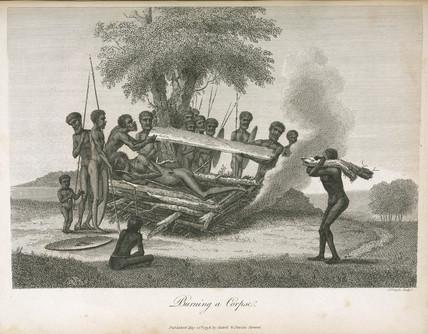 'Burning a Corpse', Australia, 1798.