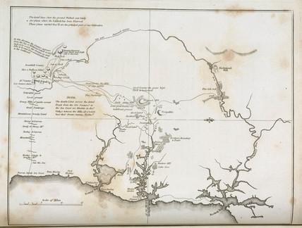 Map of Sydney and surrounding areas, Australia, c 1798.