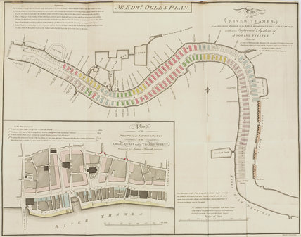 Edward Ogle's plan of the River Thames from London Bridge to Deptford, 1795.