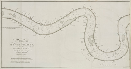 Chart showing the depth of the River Thames in London, c1750.