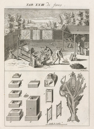 Melting cast iron and making castings from moulds, 1734.