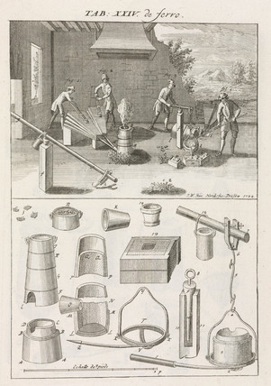 Melting cast iron in a furnace by charging it with charcoal, 1734.