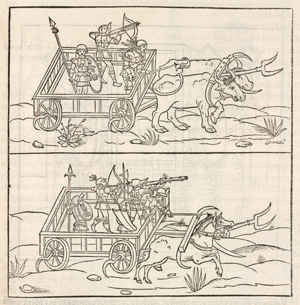 Carts armoured with scythes, 1534.