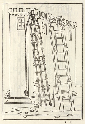 Rope and wooden ladders to scale high walls, 1534.