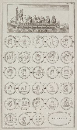 Romans crosing the Danube, and Greek and Roman coins, 1723.