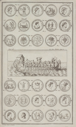 Men rowing acros the Mediterranean, and Greek and Roman coins, 1723.
