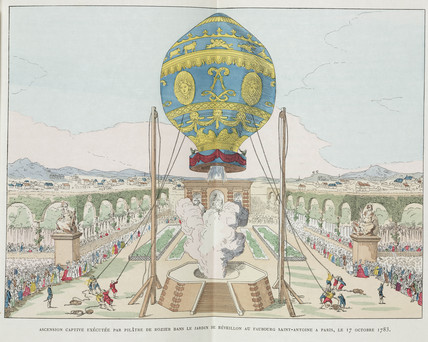 Captive balloon ascent, Paris, 17 October 1783.