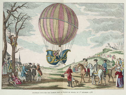 Balloon ascent by Charles, Prairie de Nesles, France, 1 December 1783.