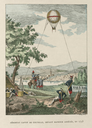 Coutelle's captive balloon, siege of Mayence, France, 1795.
