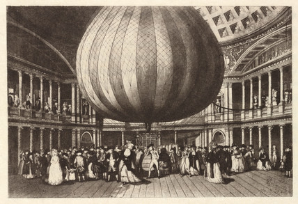 Captive balloon, late 18th century.