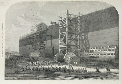 Launch of the 'Great Eastern' steam ship, 1858.