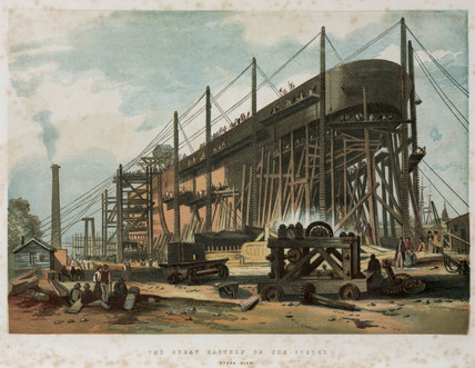 'The Great Eastern on the stocks', stern view of the steam ship, 1853-1858.