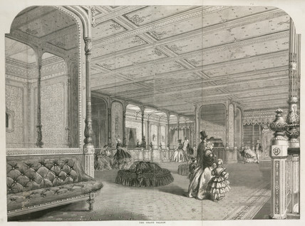 The Grand Saloon of the 'Great Eastern' steam ship, c 1859.