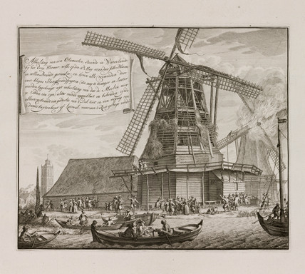 Aftermath of a fire in an oil mill, Waterland, Holland, 1699.