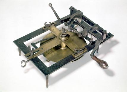 Early clock-wheel cutting machine, c 1668-1672.
