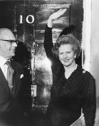 Margaret and Dennis Thatcher outside 10 Downing Street, 10 June 1983.