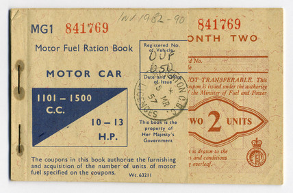 Motor fuel ration book, 1957.