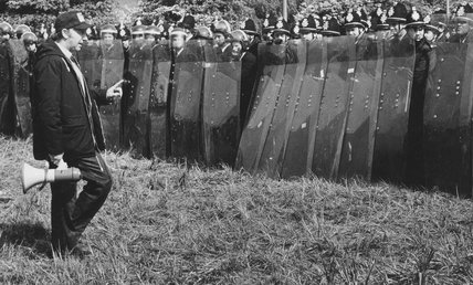Arthur Scargill confronts police with riot shields, 1984-1985.