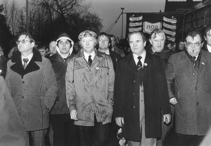 Arthur Scargill at NGA demonstration, Warrington, 14 December 1983.