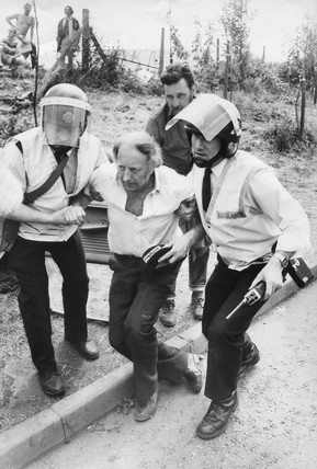 Arthur Scargill helped by ambulance men, Orgreave, Sheffield, May 1984.