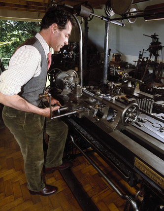19th century Whitworth lathe in use, c 1990.