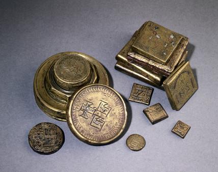 Byzantine bronze weights, c 600-699 AD.