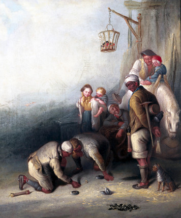 'The Disputed Shot', pitmen playing quoits, c 1836.