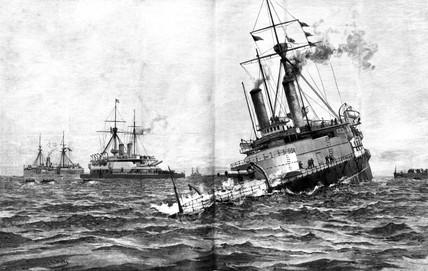 HMS Victoria settling, 1893.