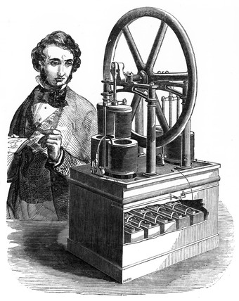 Hjorth's electromagnetic machine, 1849.