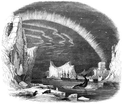 Aurora Borealis and icebergs, Arctic, 1849.