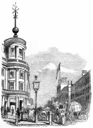 Telegraph time ball, Strand, London, 1852.