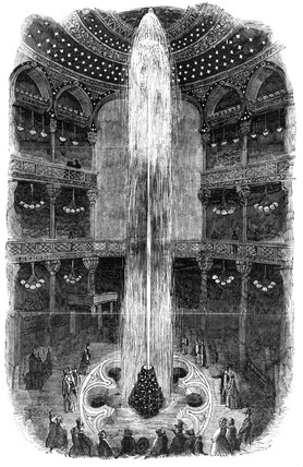 Illuminated fountain, Royal Panopticon, Leicester Square, London, 1854.