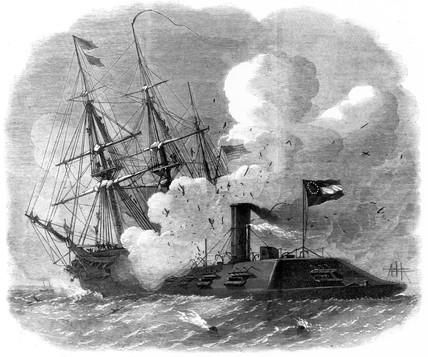 'Merrimack' sunk by 'Cumberland', 1862.