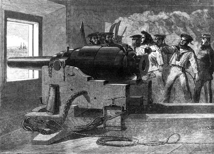 Practise with Armstrong gun, 1862.