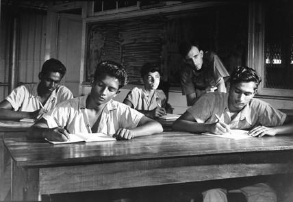 Guyanian apprentices with their teacher, Port  Mourant, Guyana, 1958.