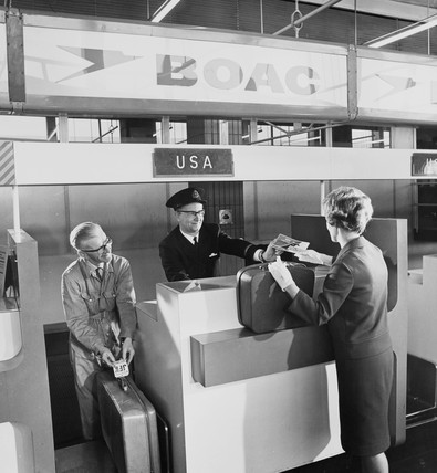 BOAC check in desk to USA at Manchester Airport, 1965.