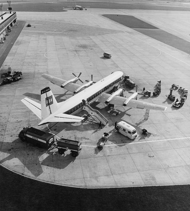 View on to apron at Manchester Airport with BEA Vanguard aircraft, 1965.