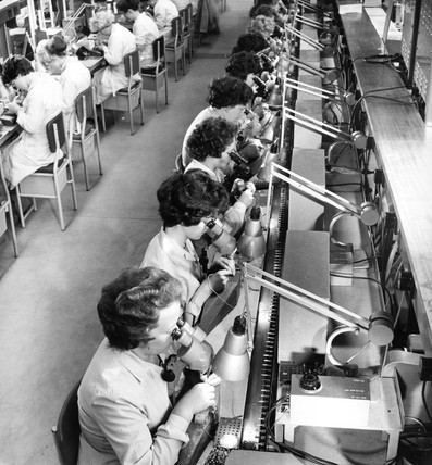 Female employees making transistors, Mullard Electronics, 1961.