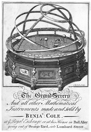 Trade card for Benjamin Cole showing the 'grand orrery', 18-19th century.