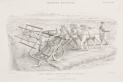 'Bell's Improved Reaping Machine by Croskill', c 1840s.