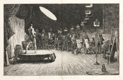 'Life School, Royal Academy': gas lighting, 1865.