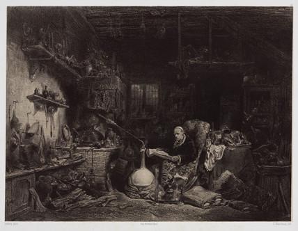 The alchemist, Paris, c 1850.