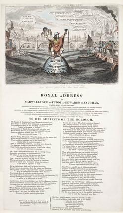A satire on water pollution in the River Thames, 1832.