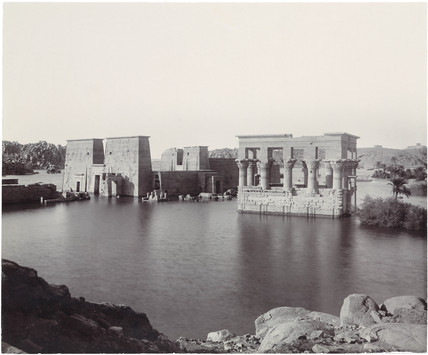 The River Nile and flooded temples at Philae, Egypt, c 1900.