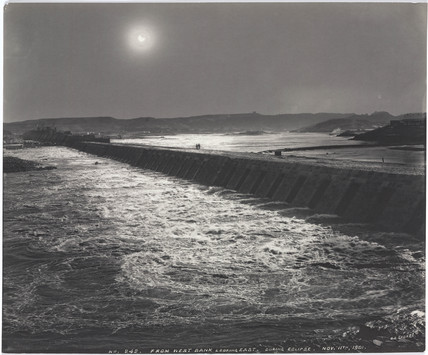 Solar eclipse over the Aswan Dam, Egypt, November 1901.