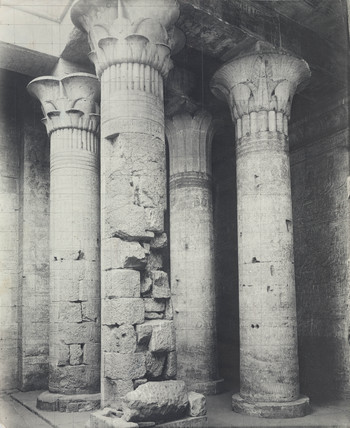 Pillars in an Ancient Egyptian temple, c 1900.