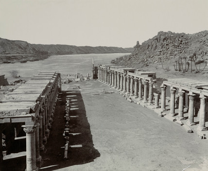 Ancient Egyptian temple buildings by the Nile, c 1900.
