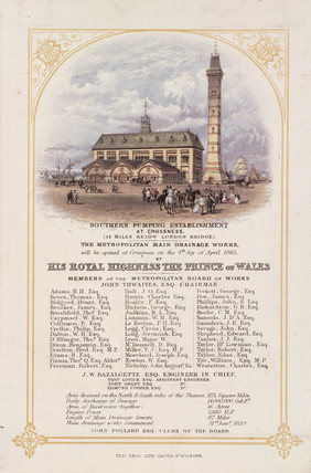 Invitation to the formal opening of Crosnes Pumping Station, 1865.