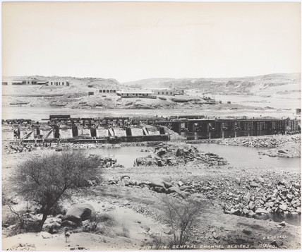 'Central channel sluices', Aswan, Egypt, July 1900.